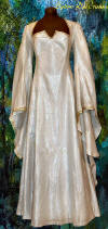 renaissance gown white with gold trim bridal wear lined